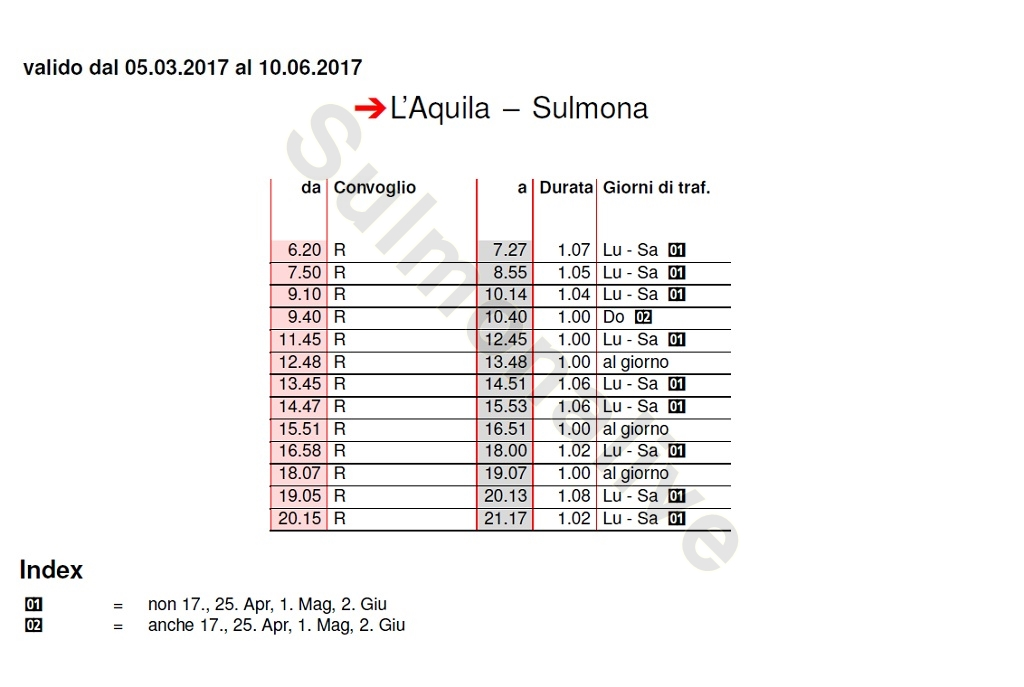 Train Timetable L'Aquila - Sulmona