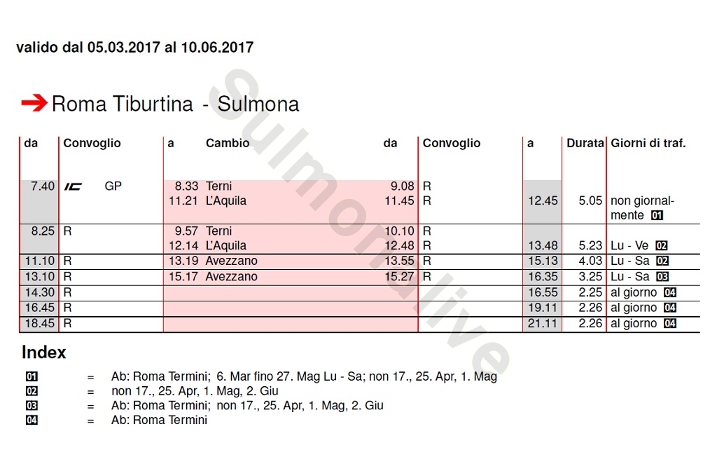 Train Timetable Rome - Sulmona