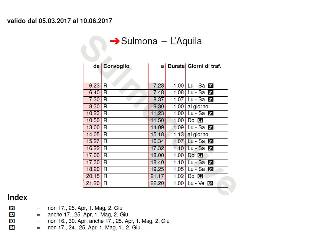Train Timetable Sulmona - L'Aquila