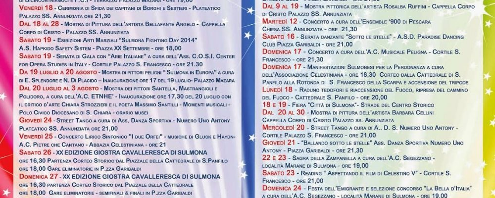 Cartellone Estivo Sulmona – Estate 2014